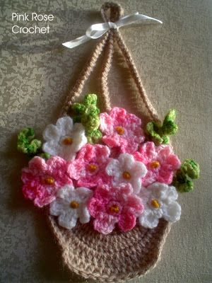 \ PINK ROSE CROCHET /: Pega Panelas Cesta de Flores -  Flowers Basket Pot...