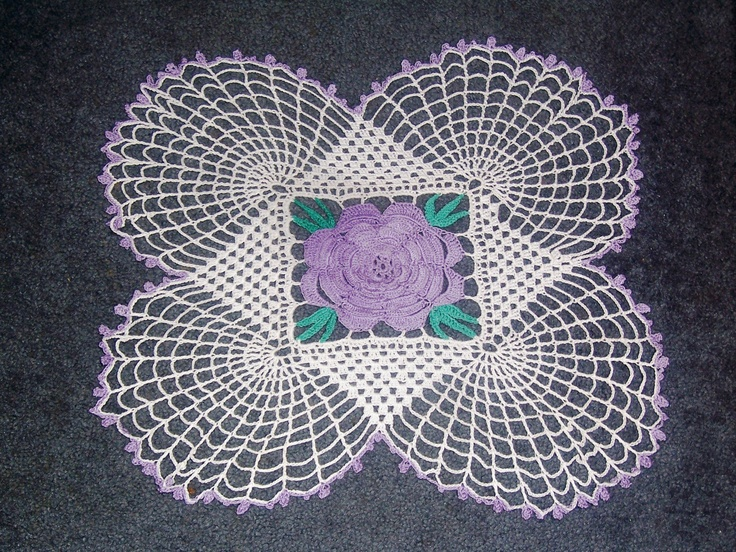 Square purple rose doily