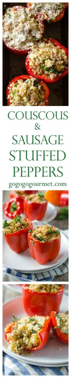 Sausage, Basil, Mustard and Couscous bring a different twist to these stuffed peppers! Couscous and Sausage Stuffed Peppers | Go Go Go Gourmet @gogogogourmet #ad #FreshFromFlorida