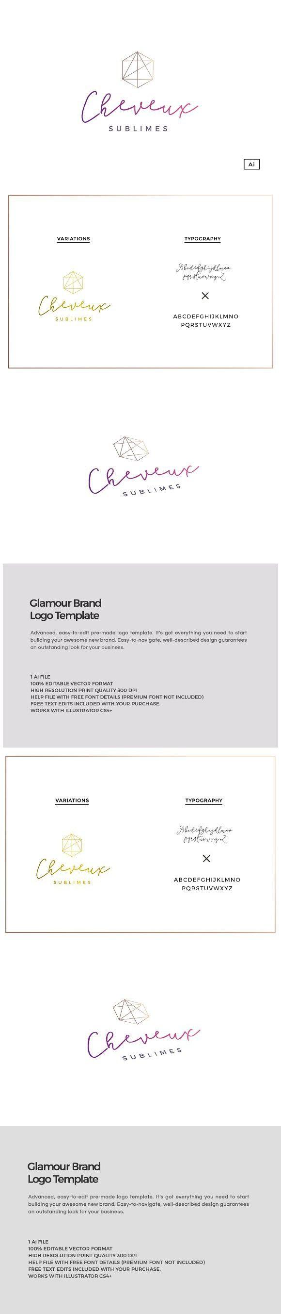 Glamour Brand Logo Template. Wedding Card Templates. $30.00