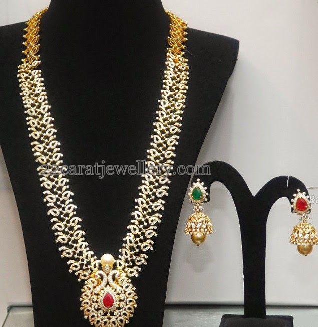 Jewellery Designs: Diamond Mango Haar with Jhumka