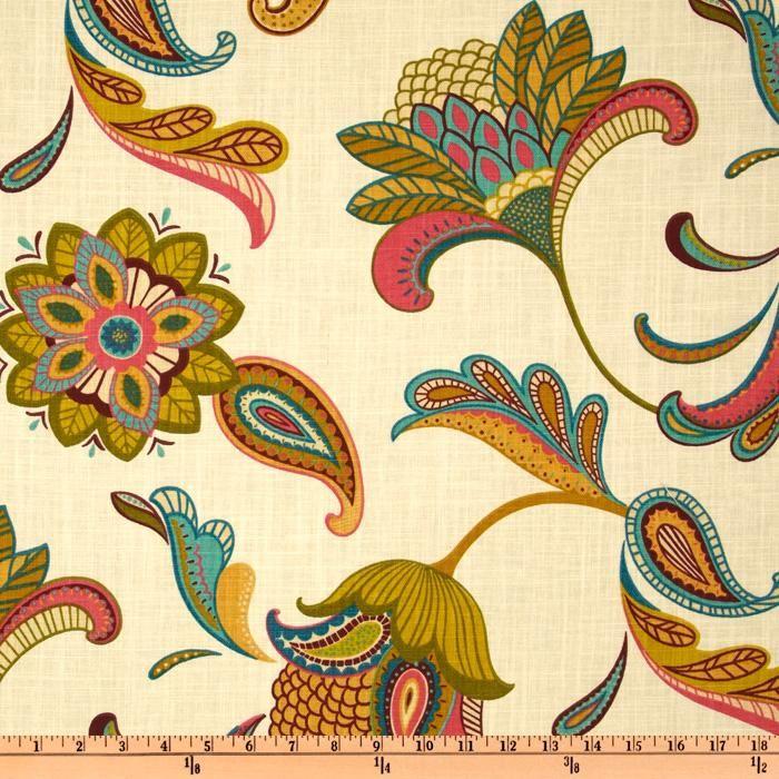 Covington Savannah Paisley Cream - Discount Designer Fabric - Fabric.com (Floral inspiration for painted rug?)