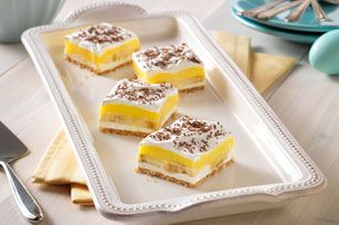 Banana Pudding Squares recipe w/ whipped cream & chocolate shavings