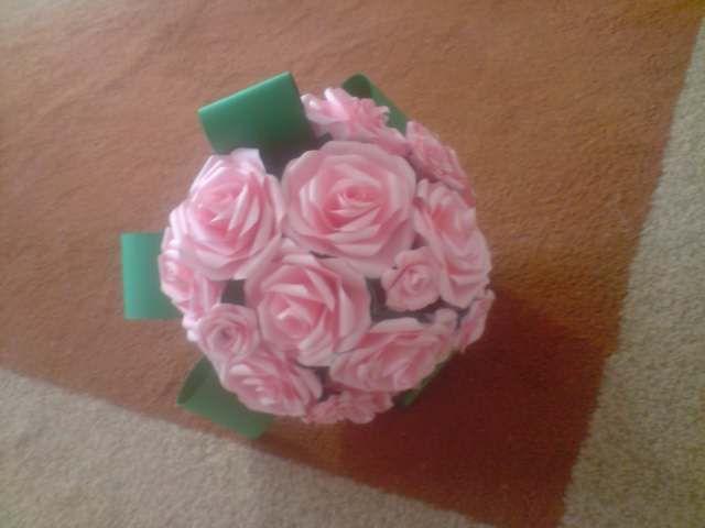 Floraria handmade ... cu flori din hartie: 4 . Buchet de flori din trandafiri roz .