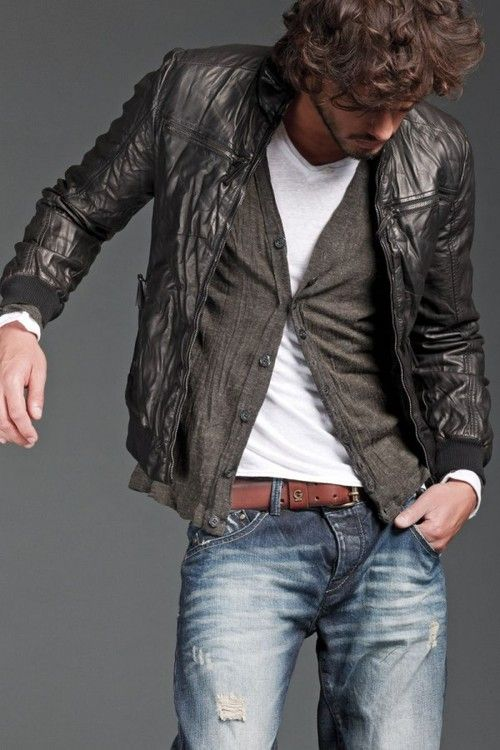 leather and cardigans