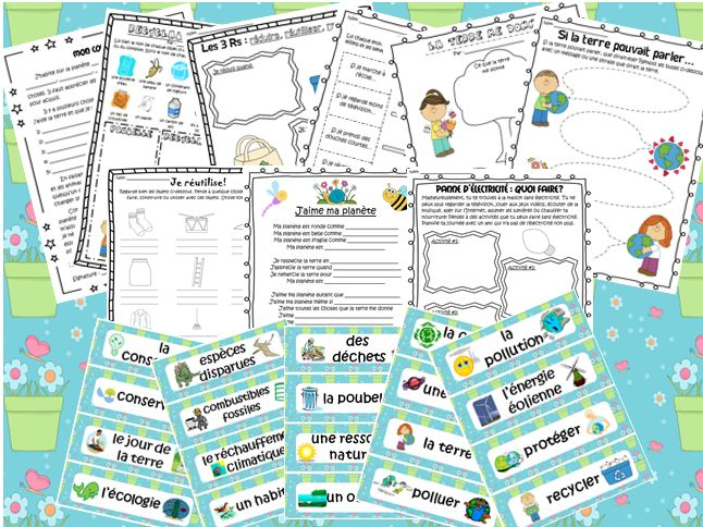 This file includes a French package for Earth Day, though it can also be used any time during the spring or during units about the environment and energy. The file includes 40 vocabulary cards related to Earth Day and the environment. It also includes 10 fun activities that students can complete during this unit.