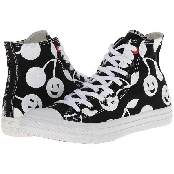 Converse Chuck Taylor All Star Cherry Print Hi Women's Shoes, Black ($48) ❤ liked on Polyvore