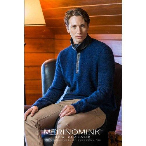 Merinomink Mens Baron Leather Sweater