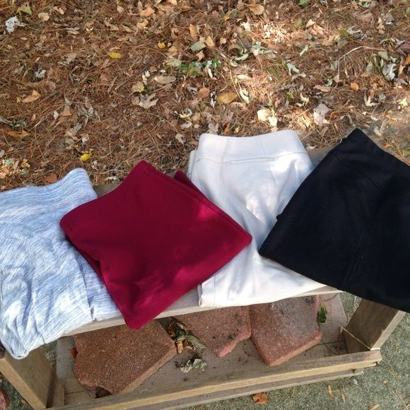 Mini & Midi skirt bundle! 10 each; 25 for all. Includes: stretchy ribbed mini skirt in wine color in size L from forever 21, has one tiny stain. An Ellen Tracy black midi pencil skirt- stretchy & comfy & a bit pimpled in size S. A super-soft high-low short skirt from NY & Co. In size M in great condition & a tan midi pencil from Calvin Klein in size 6 in perfect condition. All the skirts have stretchy waists (besides tan) so can fit diff sizes. Serious buyers feel free to ask questions/ ask…