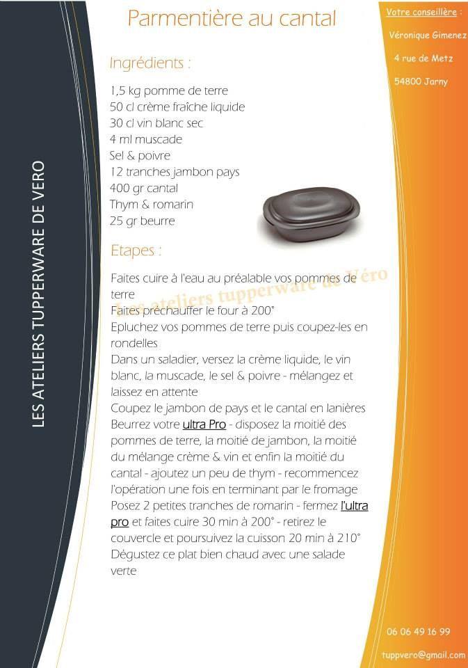 Parmentière au cantal   recette ultra pro  https://www.facebook.com/Les-ateliers-tupperware-de-V%C3%A9ro-426295820791943/timeline/