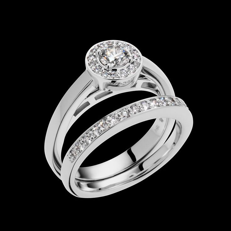 """""""Affection"""" is set with a 0.25, H color, SI clarity diamond, and is available in 18-karat white or yellow gold."""