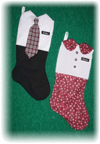 """Special stockings for your favorite missionaries! We have oversized 19"""" stockings for Elders and Sisters. Each comes with an engraved plastic name tag. Fill with surprises, treats, and love, before shipping off to your favorite missionaries serving away from home this Christmas. Elder Stockings are white and black, with assorted holiday print neckties. Sister Stockings are assorted coordinating holiday prints and solids. Even Senior Couples enjoy receiving these..."""