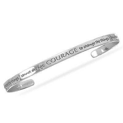 Inspirational Serenity Prayer Cuff Sterling Silver HCGems. $50.00