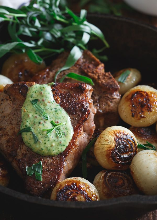 American lamb loin chops are made stove top in the skillet with browned cipollini onions topped with a fresh tarragon honey mustard sauce
