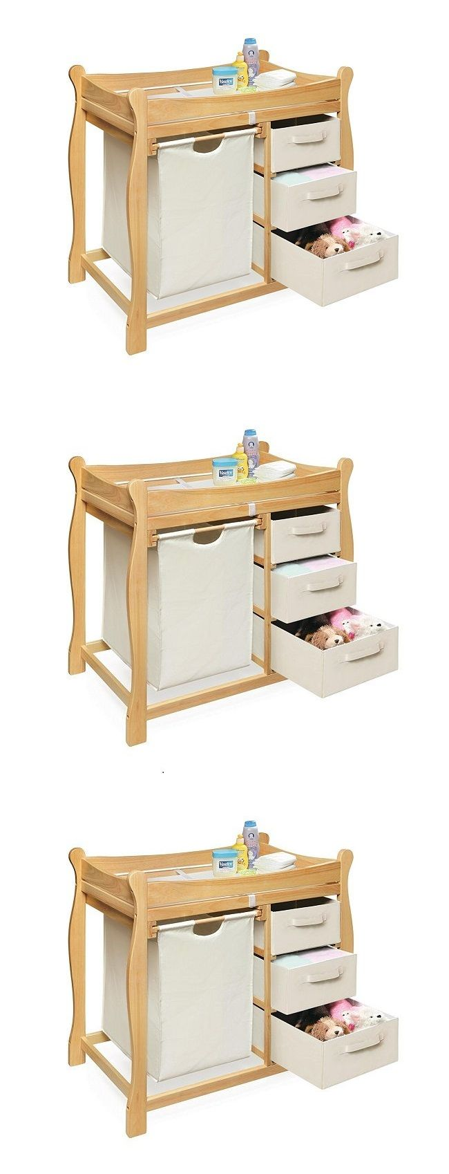 Changing Tables 20424: Changing Table Dresser Baby Furniture Diaper Change Organizer With Hamper Basket -> BUY IT NOW ONLY: $148.58 on eBay!