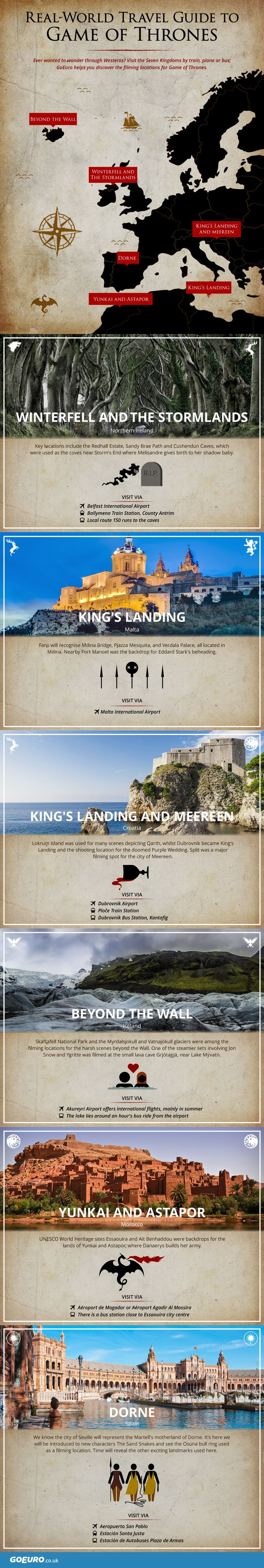 Love Game of Thrones? You can now visit your favorite 7 kingdoms. Here's a GoT Filming Locations Infographic by GoEuro