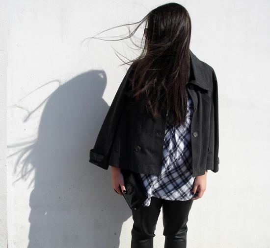 leather pants, tartan shirt