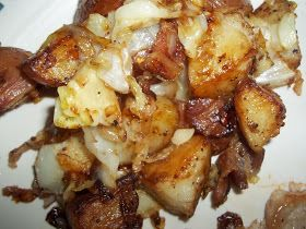 Fried Potatoes and Cabbage  ----  red potatoes, cabbage, bacon, onion, garlic, and salt and pepper.  And it all cooks in the same skillet!