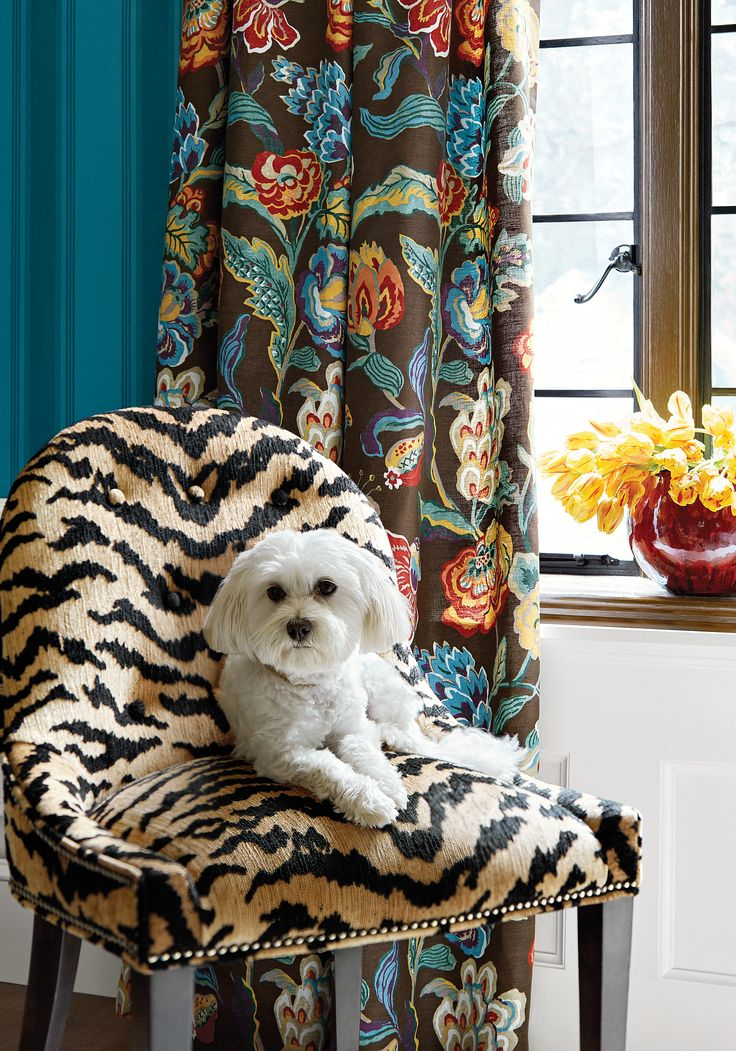 Melrose Chair From Thibaut Fine Furniture In Aja Woven Fabric In Black From  The Menagerie Collection