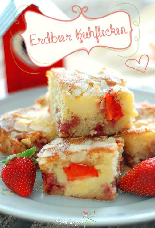 ... ein aromatischer Erdbeerkuchen mit leckeren Puddingflecken...