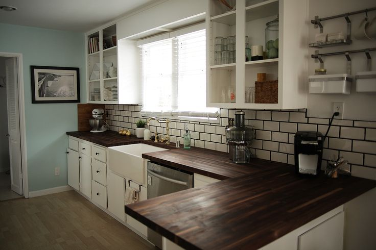 Dark wood countertops white cabinets kitchen pinterest apron sink tile and dark - White kitchen dark counters ...
