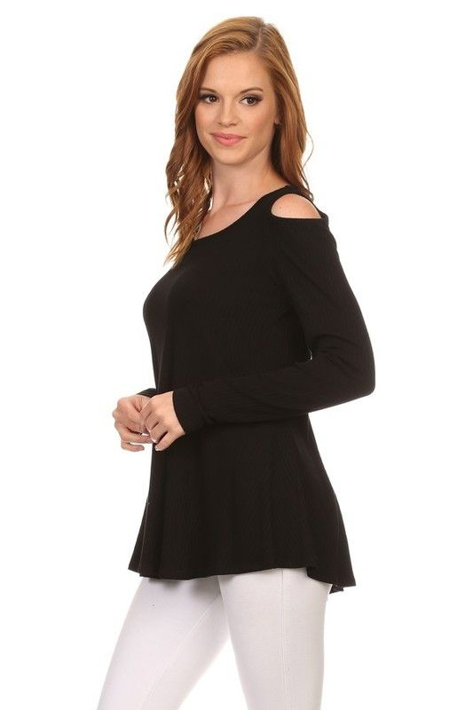 Soft cold shoulder ribbed knit top. A great basic that's not so basic!