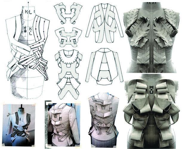 Fashion Portfolio - technical fashion drawings, fabric manipulation exploration and garment design & production - the fashion design process // 'Traces,' Rosa Pietsch