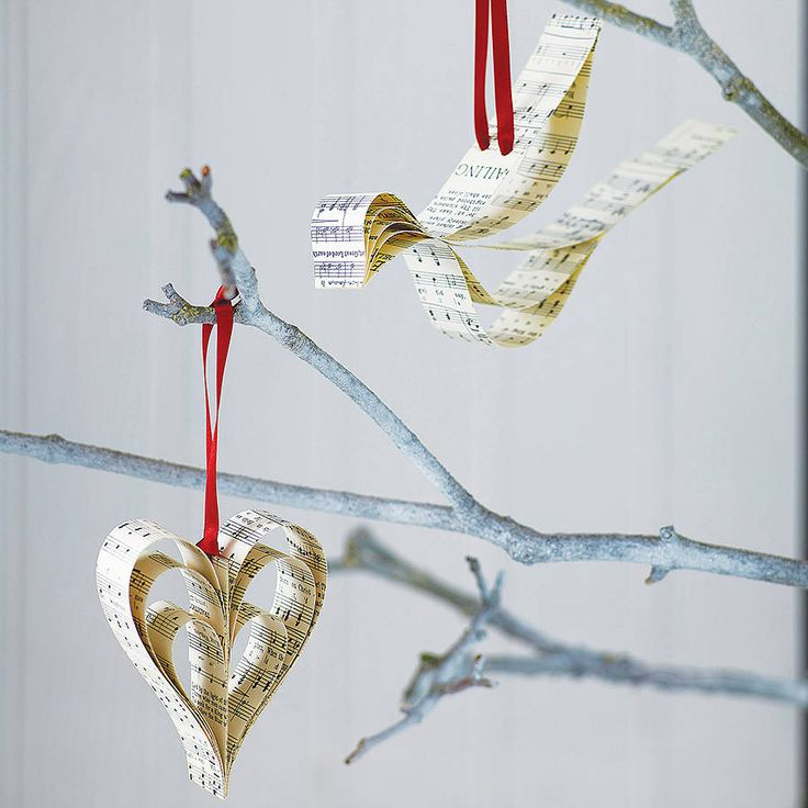 handmade sheet music christmas decoration by re:made | notonthehighstreet.com