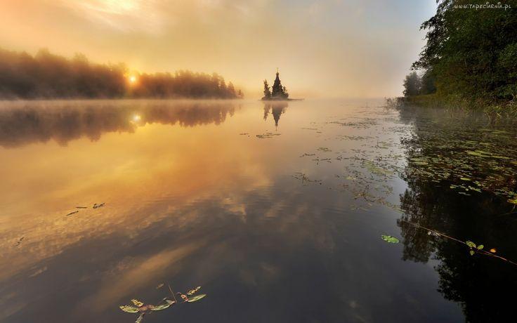 Jezioro, Mgła, Cerkiew, Las
