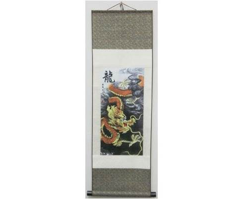 This Gold Dragon Wall Scroll is constructed from a brocade silk fabric and bound to a wooden scroll rod at the bottom.