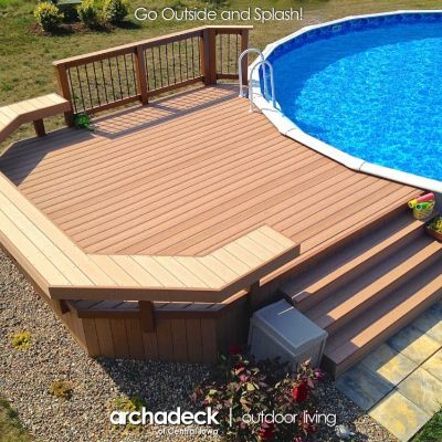 decks ground pools pool deck ideas inground stone above on a budget