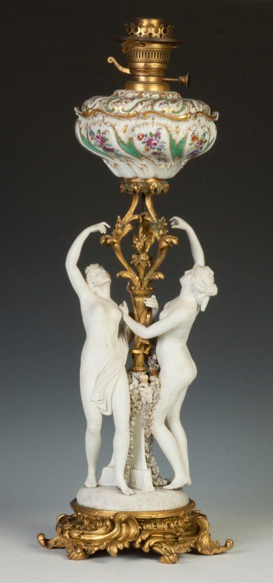 French Porcelain & Gilt Bronze Oil Lamp with Classical : Lot 434