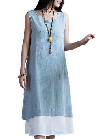 Layer Mori Girl Loose Sleeveless Solid Dress  Shopping Online - NewChic Mobile.