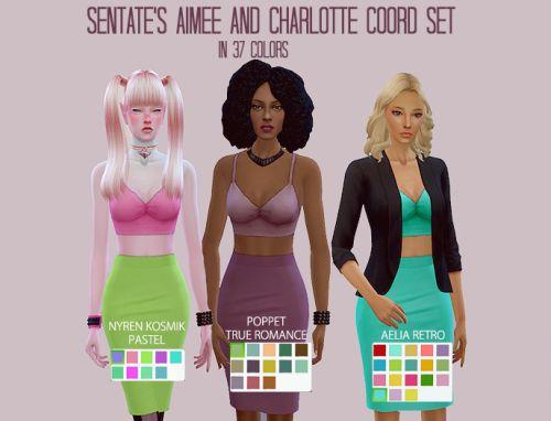 egosandlies:  PART III of my 1.5k followers giftI have Sentate's Aimee and Charlotte Coord Set in 37 colors. The colors are grouped by action set, so you can pick and choose which set you want in game. :) Sorry about that. PLEASE NOTE: You need the meshes for these recolors to show. Get them here. Credits:Sentate for the meshesNyren for the Kosmik Pastel ActionPoppet for the True Romance ActionAelia for the Retro Action//DOWNLOAD (ZIP)//If there are any issues, please shoot me a message! :)