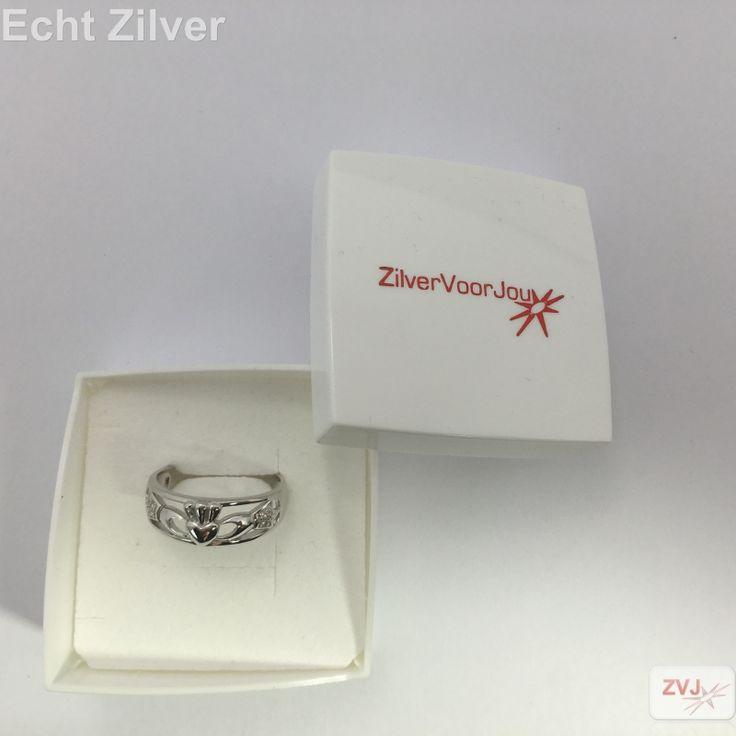zilveren claddagh ring ingelegd met witte zirkonia - ZilverVoorJou Echt 925 zilveren sieraden