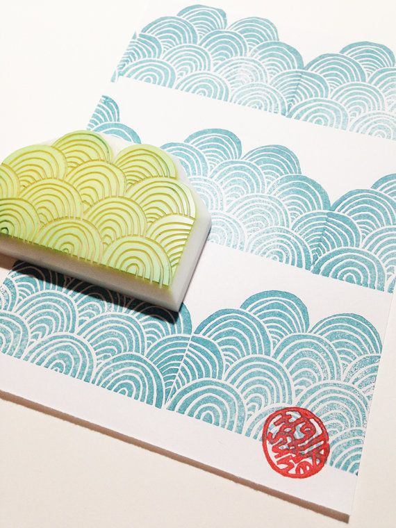 ocean wave rubber stamp. hand carved rubber stamp. by talktothesun