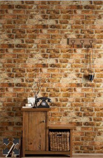 Brick wallpaper living room pinterest ps brick for Brick effect wallpaper living room ideas