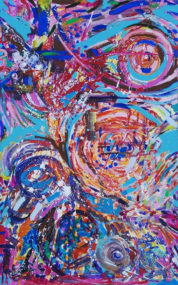 """""""Sinergie di Fragmenta 6″ è un fervido esempio di arte collettiva. Sei pannelli in legno di misura cm 90 x 145 cadauno sistemati a terra, sono stati realizzati separatamente attraverso un'azione di pittura """"connettiva"""" da gruppi di persone che hanno collaborato in maniera spontanea, guidati unicamente dal loro spirito creativo liberatosi grazie all'atmosfera evocativa della musica e del luogo"""