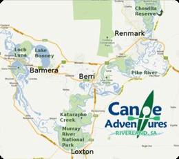 Canoe hire - Riverland, South Australia. Renmark, Lyrup, Gurra Gurra, Berri, Loxton, Barmera, Moorook, Kingston, Loch Luna, Katarapko, Loveday, Cobdogla, Waikerie, Banrock Station,