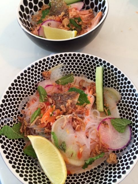 Crispy Salmon and vermacelli salad