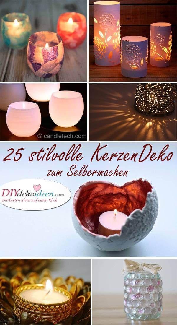 Bastelkerzen selber machen – Dekoration mit Kerzenhalter   – Deko-Ideen