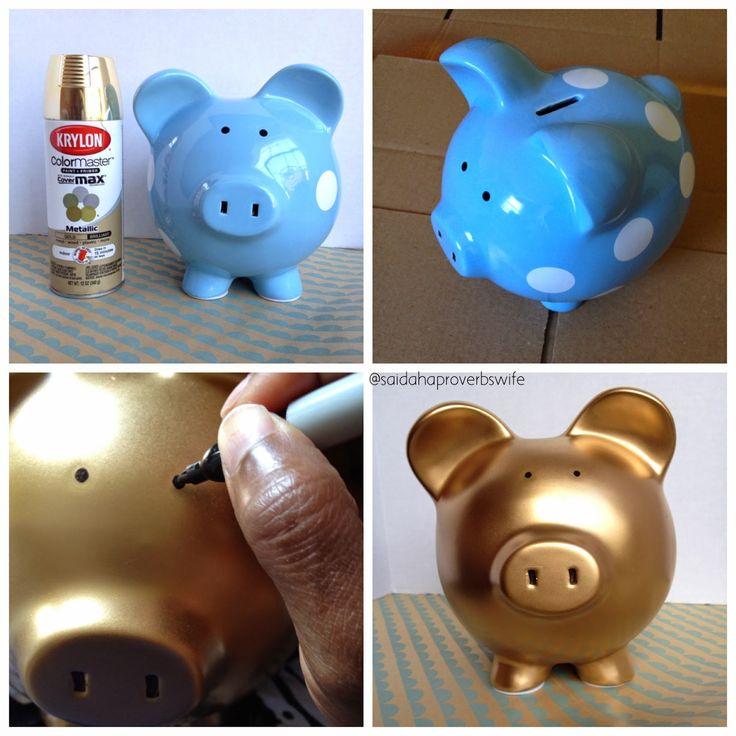 DIY Gold Piggy Bank | Aprons and Stilletos