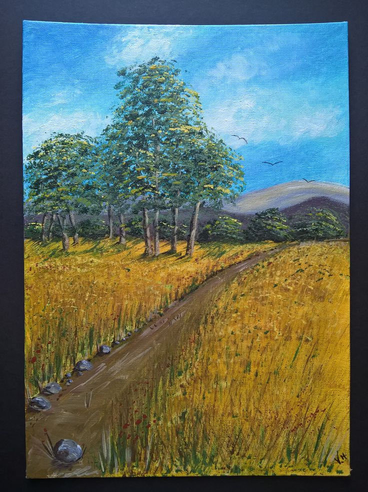 Acrylic painting | Handmade | Wall Hanging | Wall Art | Home Decor | Gift | Nature | Size: Height 35.5cm X Width 25.5cm