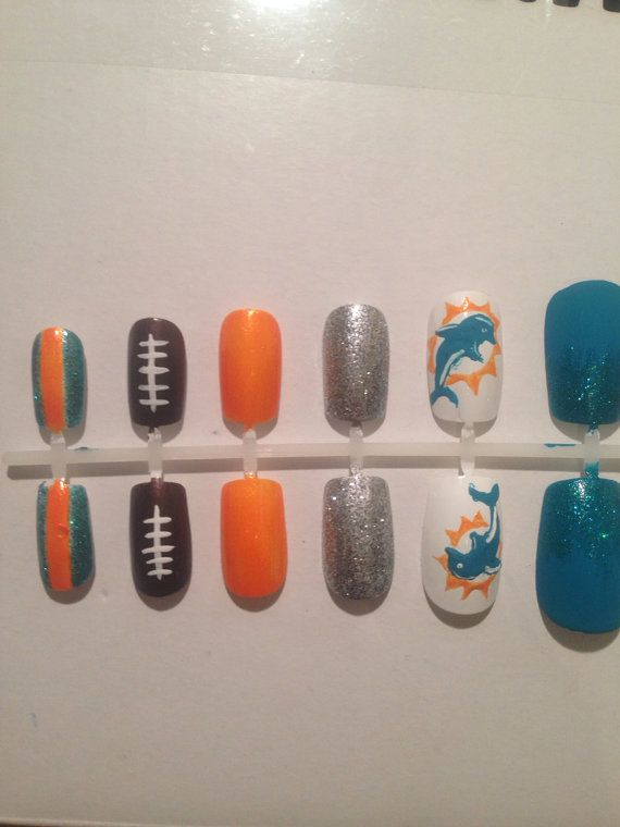 Miami Dolphins Nails false nails by GotNailz on Etsy, $13.00 - Best 25+ Dolphin Nails Ideas On Pinterest Beach Nail Designs