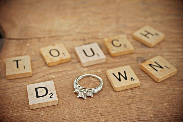 Engagement ring shot for the football fanatic, touch down!