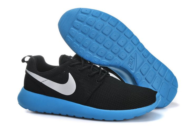 2014 nike roshe run black silver blue men running shoes at $89.99 free shipping fee