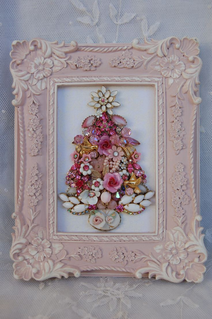 Vintage Jewelry Framed Christmas Tree Perfectly Pink | eBay $119.00