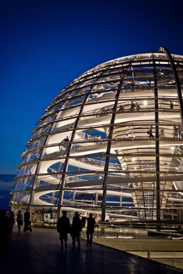 The Reichstag runs on renewable energy coming from water, wind, and solar power.