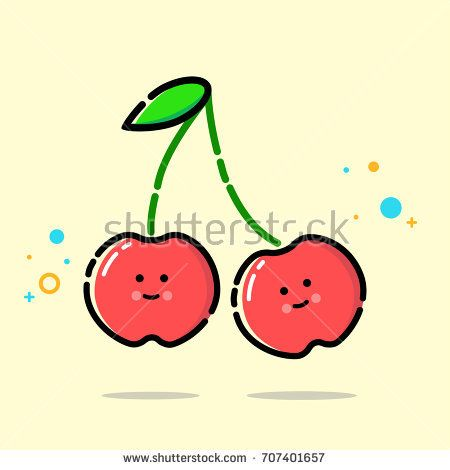 Fruit vector. Cute cherry icon. MBE style