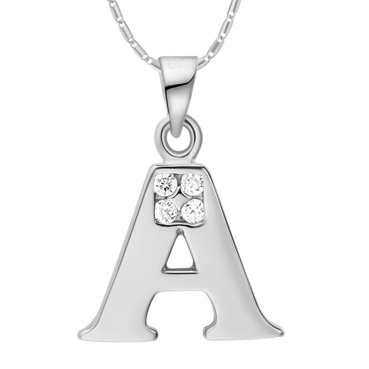 Fashion 2014 silver necklace Woman Men Alphabet Initial Letter Pendant Necklace with Cubic Zirconia and long Chain